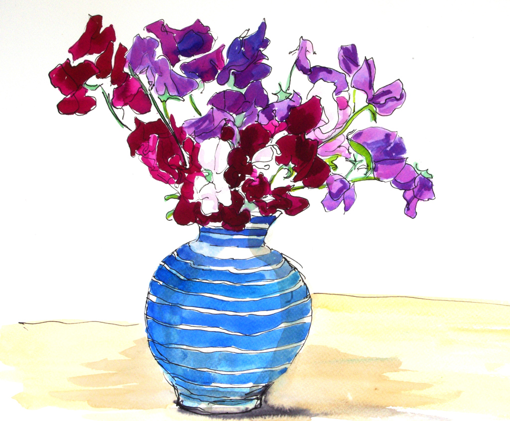 Sweetpeas in a vase